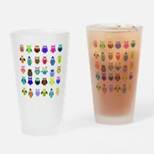 So Many Owls Drinking Glass