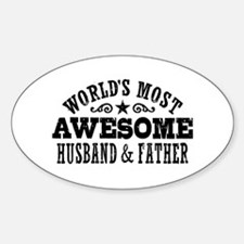 Awesome Husband And Father Sticker (Oval)