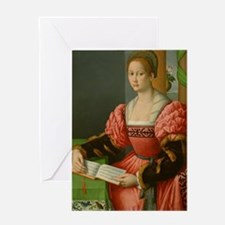 Portrait of a Woman with a Book of M Greeting Card