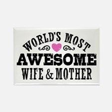 Awesome Wife And Mother Rectangle Magnet