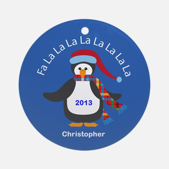 Personalized FaLaLaLaLa Penguin Christmas Ornament