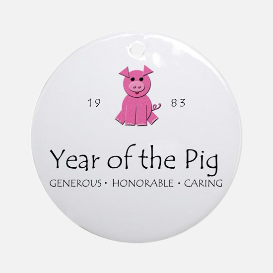 """Year of the Pig"" [1983] Ornament (Round)"