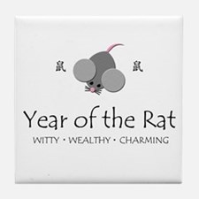 """Year of the Rat"" Tile Coaster"