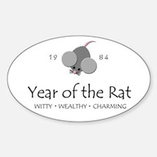 """""""Year of the Rat"""" [1984] Oval Decal"""