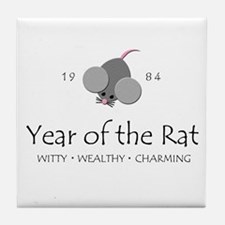 """Year of the Rat"" [1984] Tile Coaster"