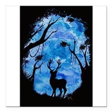 "Blue Deer Square Car Magnet 3"" x 3"""