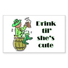 ST PATRICK'S DAY-IRISH DRINK Sticker (Rectangular