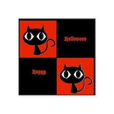 Happy Halloween Big Eyed Cats Orange and Black Sti
