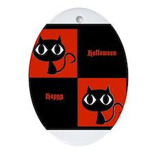 Happy Halloween Big Eyed Cats Orange and Black Orn