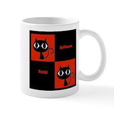 Happy Halloween Big Eyed Cats Orange and Black Mug