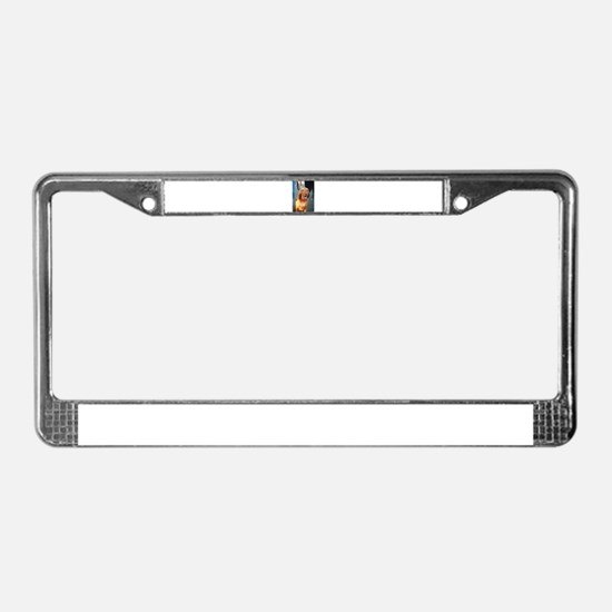 Viszla brown happy sitting and License Plate Frame