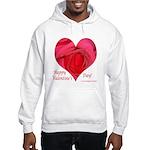 Red Rose in Heart Valentine Hooded Sweatshirt