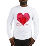 Red Rose in Heart Valentine Long Sleeve T-Shirt
