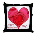Red Rose in Heart Valentine Throw Pillow