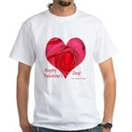 Red Rose in Heart Valentine White T-Shirt
