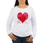 Red Rose in Heart Valentine Women's Long Sleeve T-