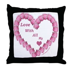 Memory Rose Heart Valentine Throw Pillow