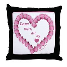Memory Rose Heart Valentine Throw Pillow