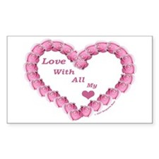 Memory Rose Heart Valentine Rectangle Decal