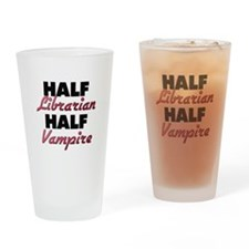Half Librarian Half Vampire Drinking Glass