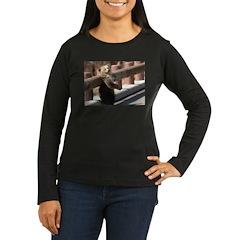 Back Rub Cub Women's Long Sleeve Brown T-Shirt
