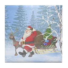 Santa is coming Tile Coaster
