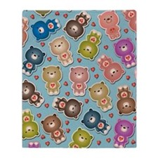 Colorful Teddy Bears Pattern Throw Blanket