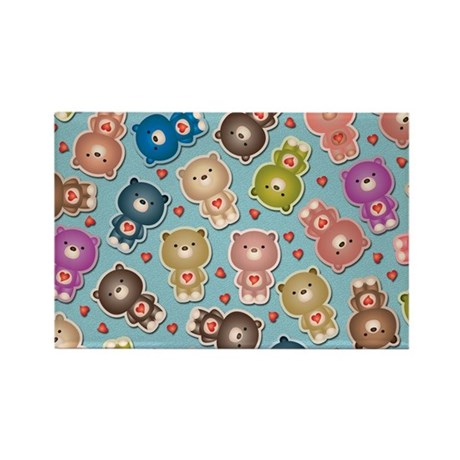 Colorful Teddy Bears Pattern Magnets