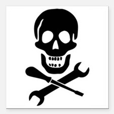 "Mechanic Pirate Square Car Magnet 3"" x 3"""