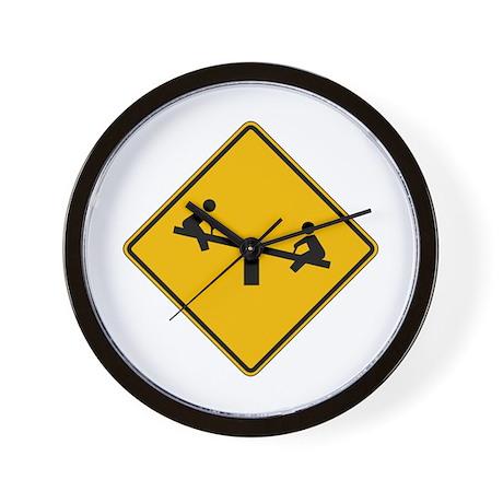 Playground Warning - USA Wall Clock
