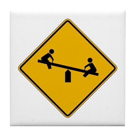 Playground Warning - USA Tile Coaster