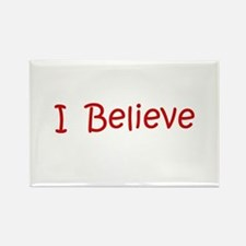 Red Believe Rectangle Magnet