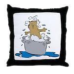 Cat Bath II Throw Pillow
