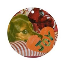Longhaired Dachshund Ornament (Round)