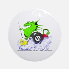 Pool Dragon Billiards Round Ornament
