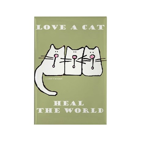 Love a Cat, Heal the World Rectangle Magnet