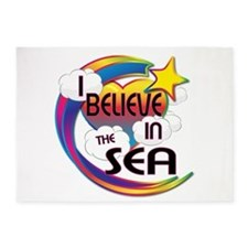 I Believe In The Sea Cute Believer Design 5'x7'Are