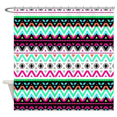Neon Mix #3, Tribal Shower Curtain