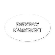 Emergency Management - White Oval Car Magnet