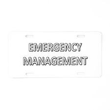 Emergency Management - White Aluminum License Plat