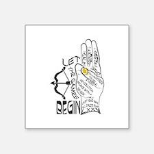 """Three Finger Salute Square Sticker 3"""" x 3"""""""