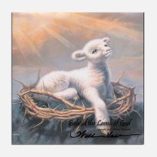 """Behold the Lamb"" Fine Art Tile Coaster"