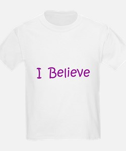 Purple I Believe Kids T-Shirt