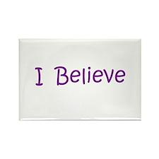 Purple I Believe Rectangle Magnet