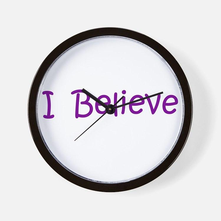 Purple I Believe Wall Clock