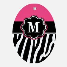 Zebra Print Pink Monogram Ornament (Oval)