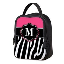 Zebra Print Pink Monogram Neoprene Lunch Bag
