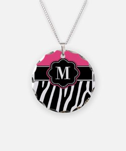 Zebra Print Pink Monogram Necklace