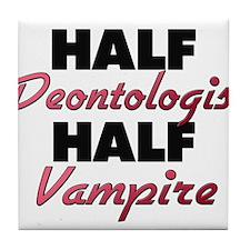 Half Deontologist Half Vampire Tile Coaster