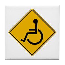 Handicapped Warning - USA Tile Coaster